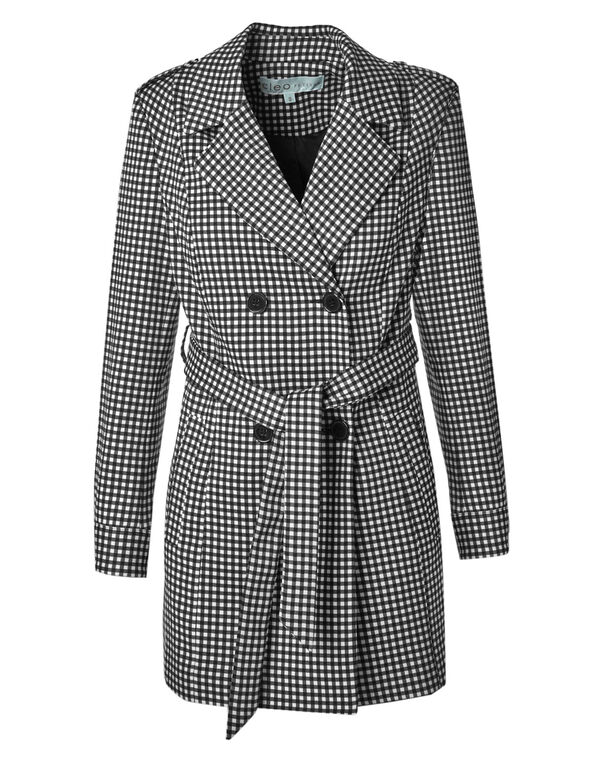 Gingham Belted Trench Coat, White/Black, hi-res