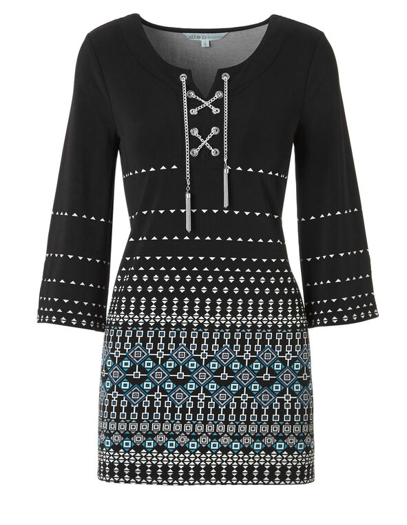 Black Printed Tunic With Chain, Black/Peacock, hi-res