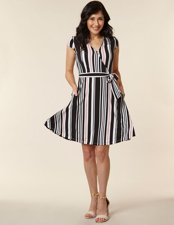 Rose Striped Fit & Flare Dress, Pink/Rose, hi-res