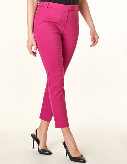 Magenta Pull On Ankle Pant, Pink, hi-res