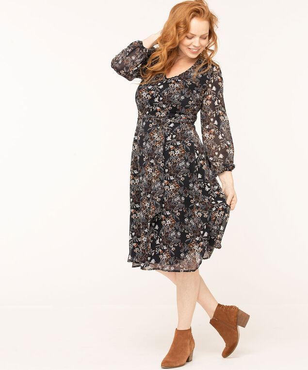 Floral Chiffon Belted Dress, Navy/Camel, hi-res