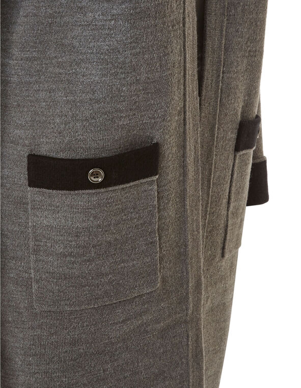 Charcoal Double Knit Sweater Coat, Charcoal, hi-res