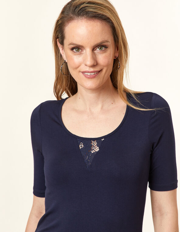 Lace Keyhole Top, Navy, hi-res