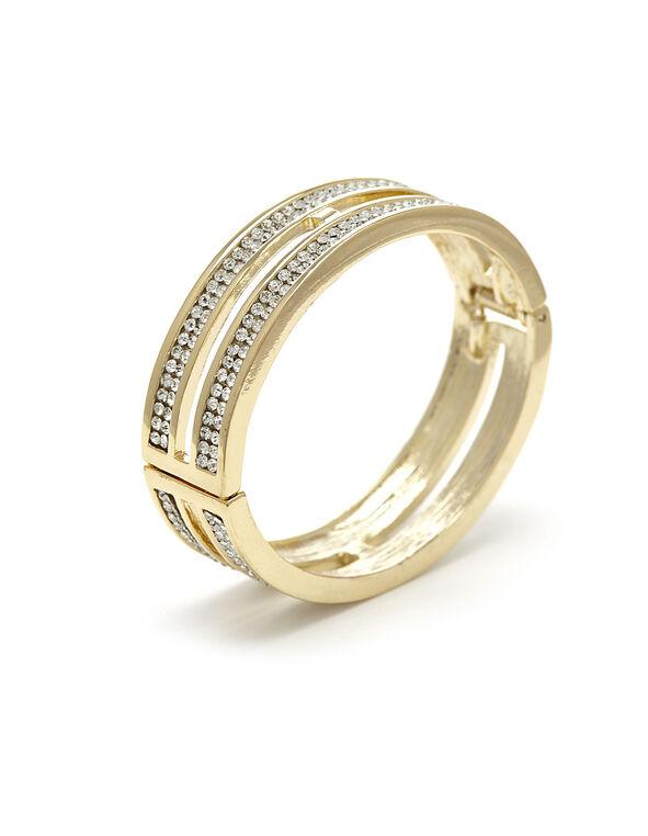 Gold Pave Crystal Hinge Bracelet, Gold, hi-res
