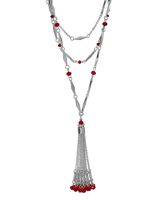 Red Beaded Tassel Necklace, Red, hi-res