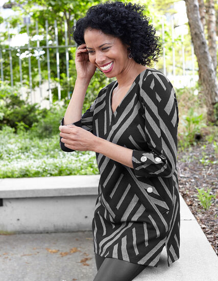 Printed Knit Tunic Top, Black, hi-res