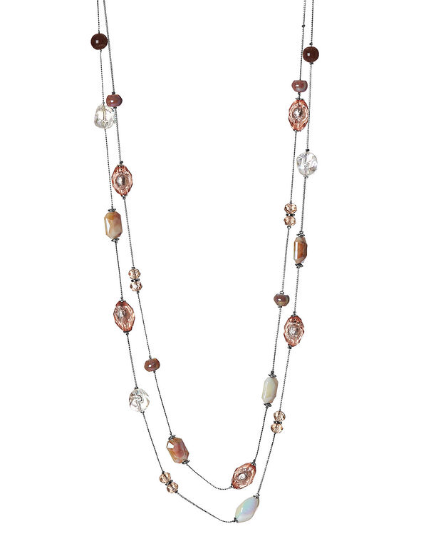 Pink Beaded Necklace, Pink, hi-res