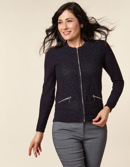 Navy Flower Zip Sweater, Navy, hi-res