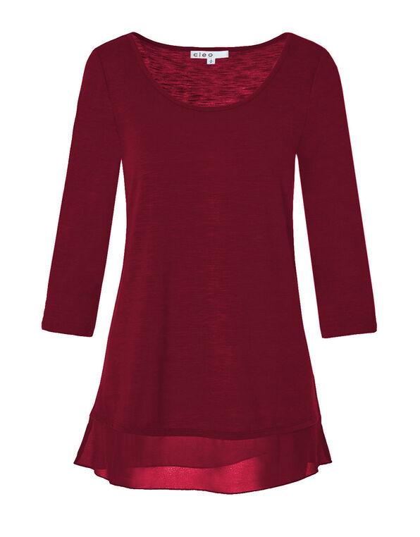 Red Scoop Neck Chiffon Hem Top, Winter Red, hi-res
