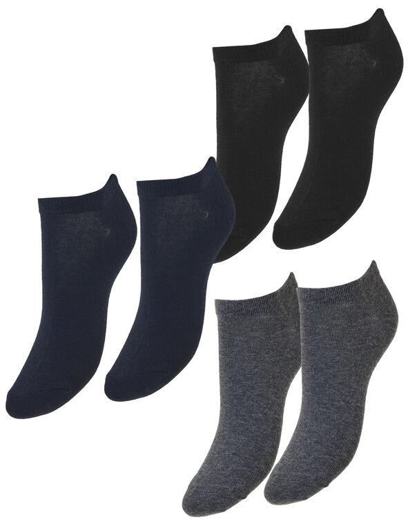 Solid Ankle Sock 3 Pack, Black/Blue/Grey, hi-res