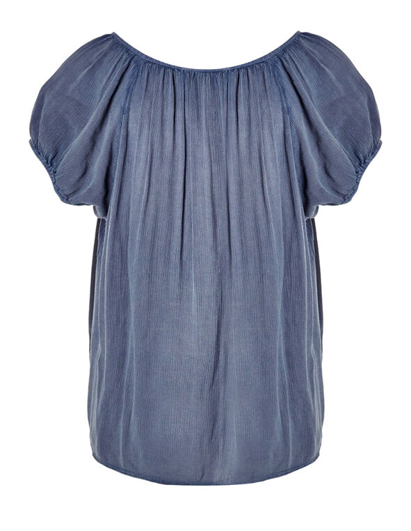 Chambray Tie Front Blouse, Chambray, hi-res