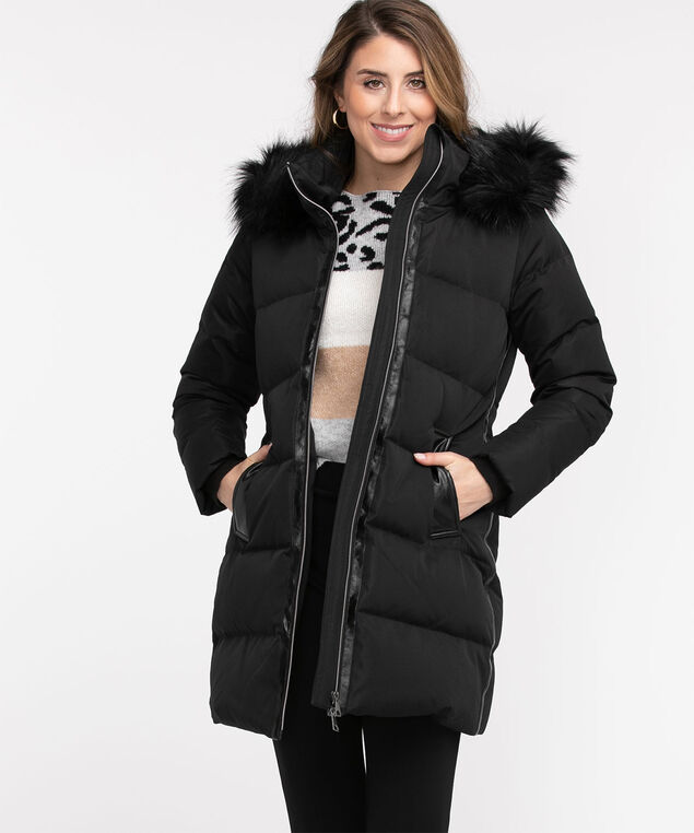 Faux Fur Glacier Down Coat, Black