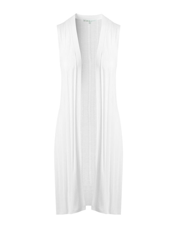 White Long Ribbed Vest, White, hi-res