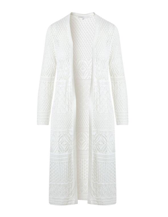 Ivory Long Crochet Cardigan, Ivory, hi-res