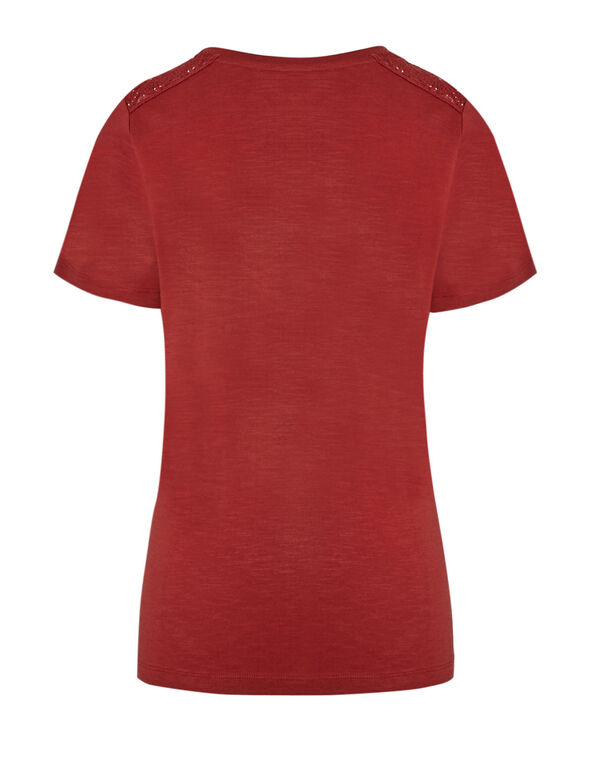 Terracotta Cotton Tee, Terracotta, hi-res