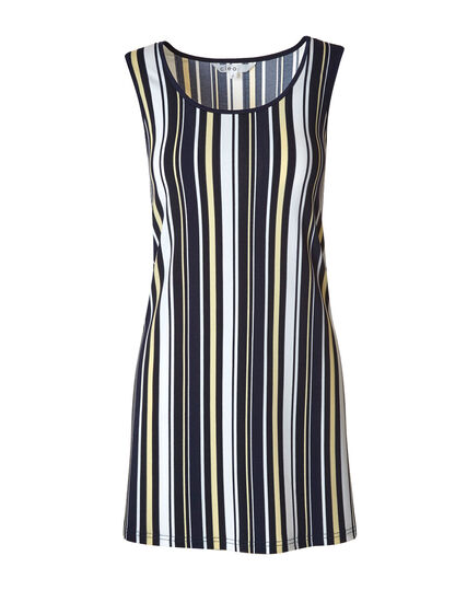 Navy Striped Tunic Top, Blue/White/Yellow, hi-res