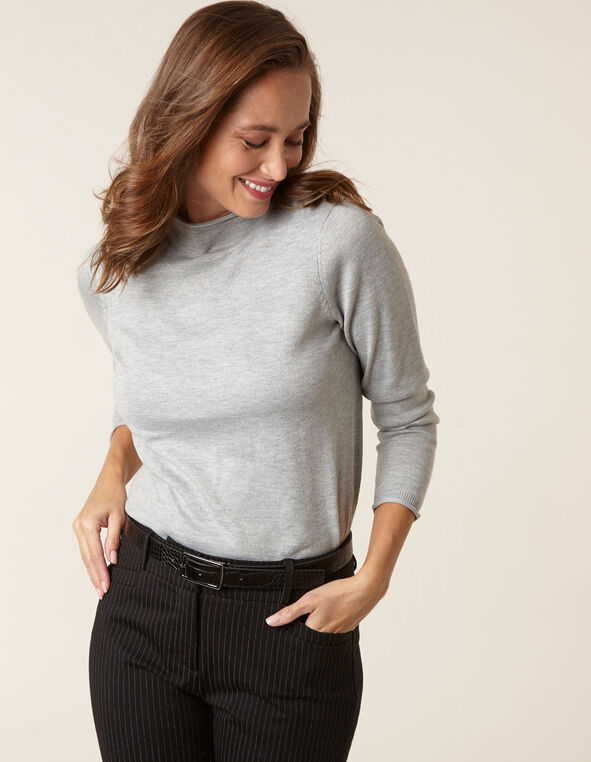 Grey Recycled Mock Neck Sweater, Grey, hi-res