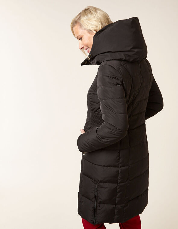 Black Convertible Hood Down Coat, Black, hi-res