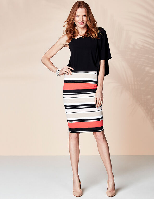 Ottoman Striped Pencil Skirt, Stripe, hi-res