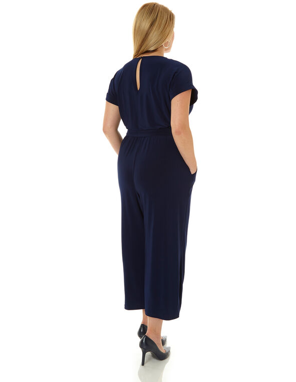 Navy Front Tie Jumpsuit, Navy, hi-res