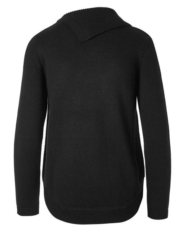 Navy Striped Split Neck Sweater, Navy, hi-res