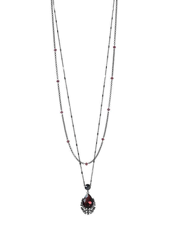 Long Garnet Pendant Necklace, Burgundy, hi-res