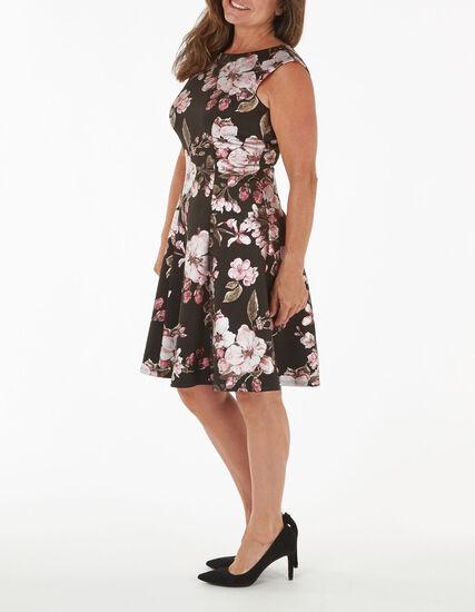 Black Floral Print Fit and Flare Dress, Black, hi-res