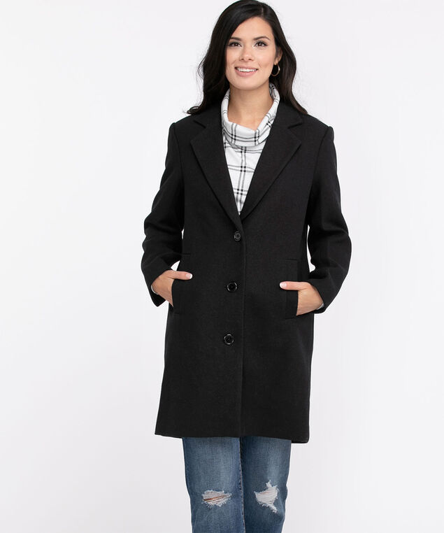 Relaxed Notch Collar Coat, Black