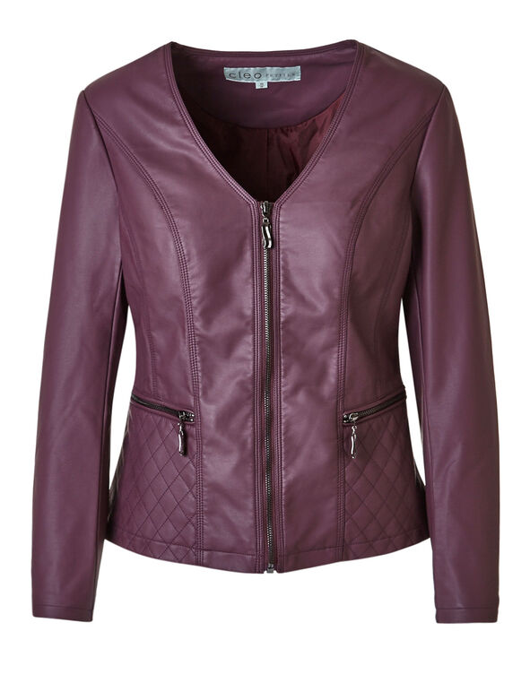 Plum Quilted Faux Leather Jacket, Plum, hi-res