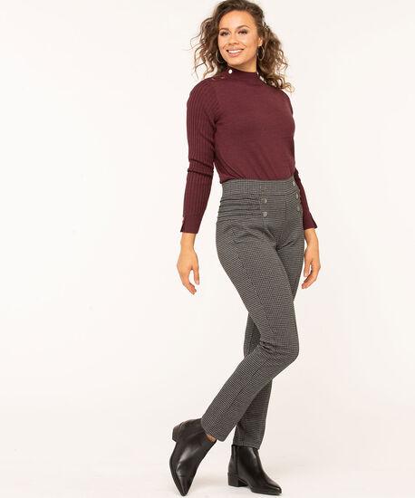 Houndstooth Button Detail Legging, Charcoal/Black, hi-res