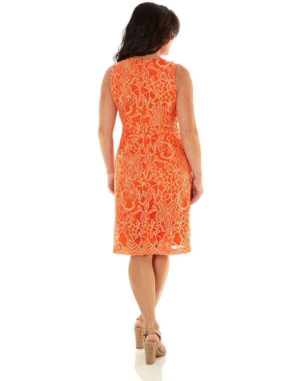 Orange Lace Overlay Sheath Dress, Orange, hi-res