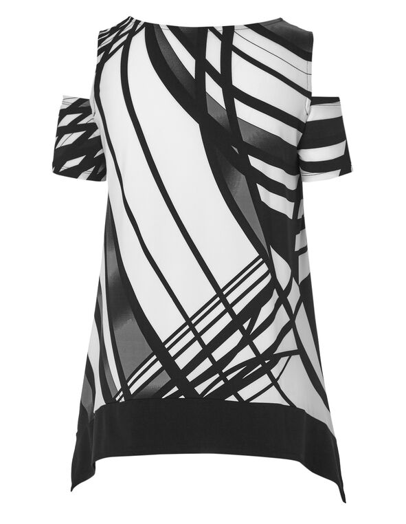 Black Printed Cold Shoulder Top, Black Print, hi-res