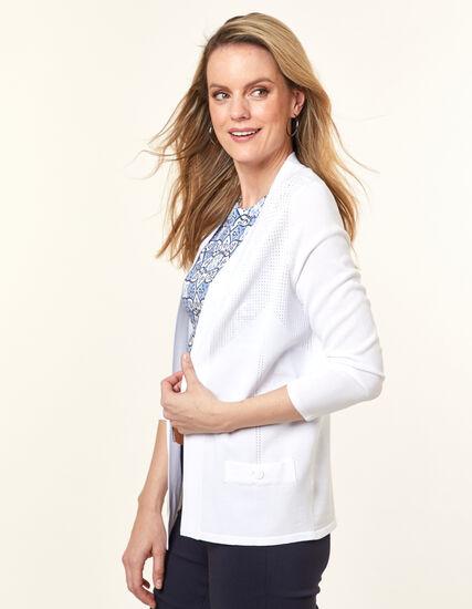 White Pointelle Knit Cardigan, White, hi-res