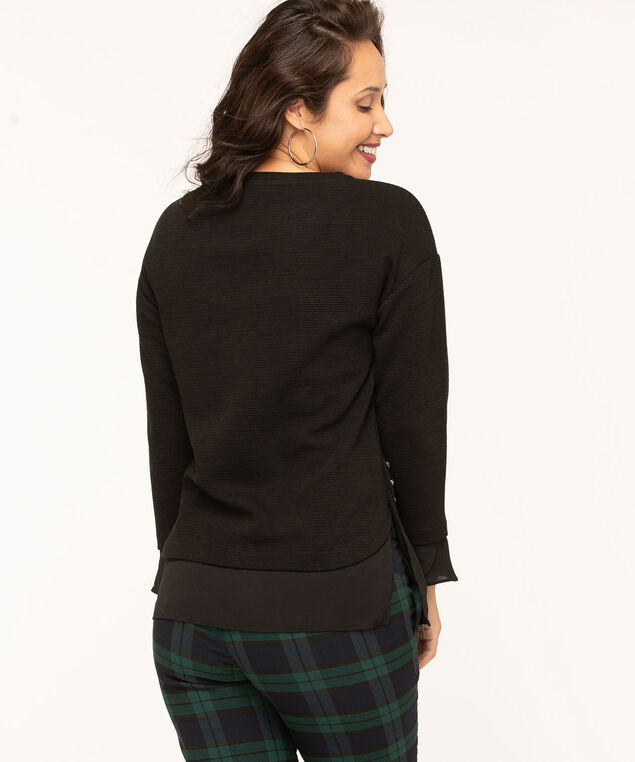 Black Ottoman Fooler Top, Black, hi-res