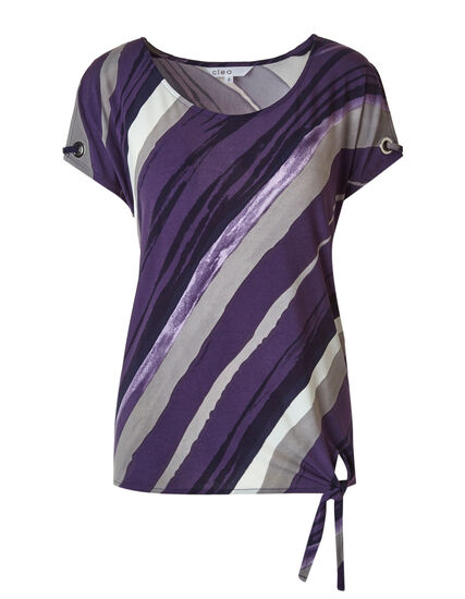 Purple Pattered Tie Hem Top, Purple/Grey, hi-res