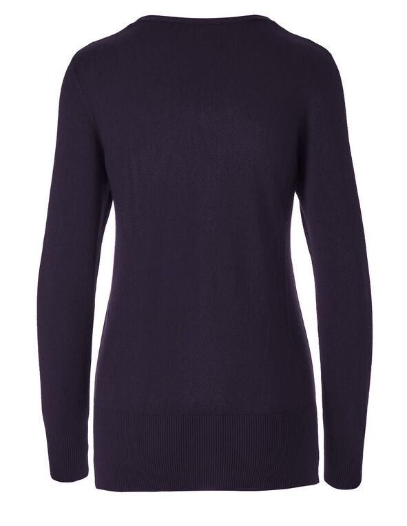 Purple V-Neck Pullover Sweater, Purple, hi-res