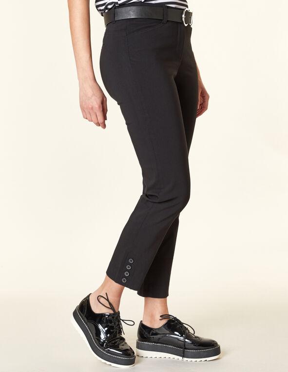 Black Button Butt Lift Slim Pant, Black