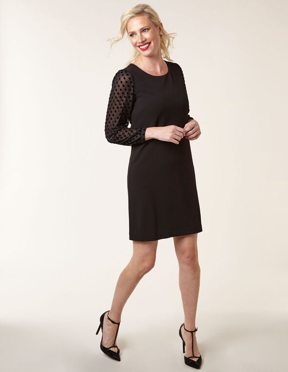 Black Crepe Sheath Dress, Black, hi-res
