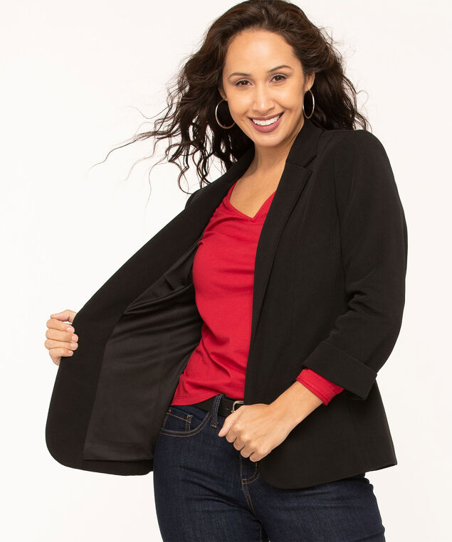Black Ottoman Knit Open Blazer, Black, hi-res