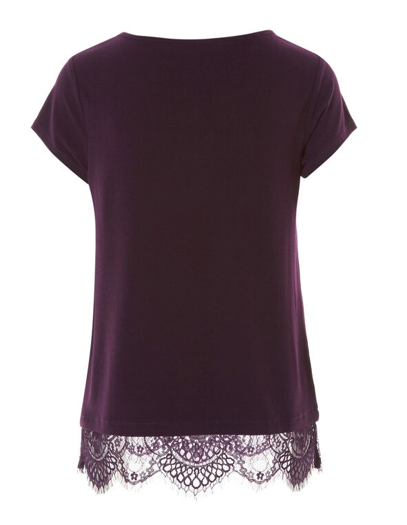 Dark Purple Lace Detail Top, Dark Purple, hi-res