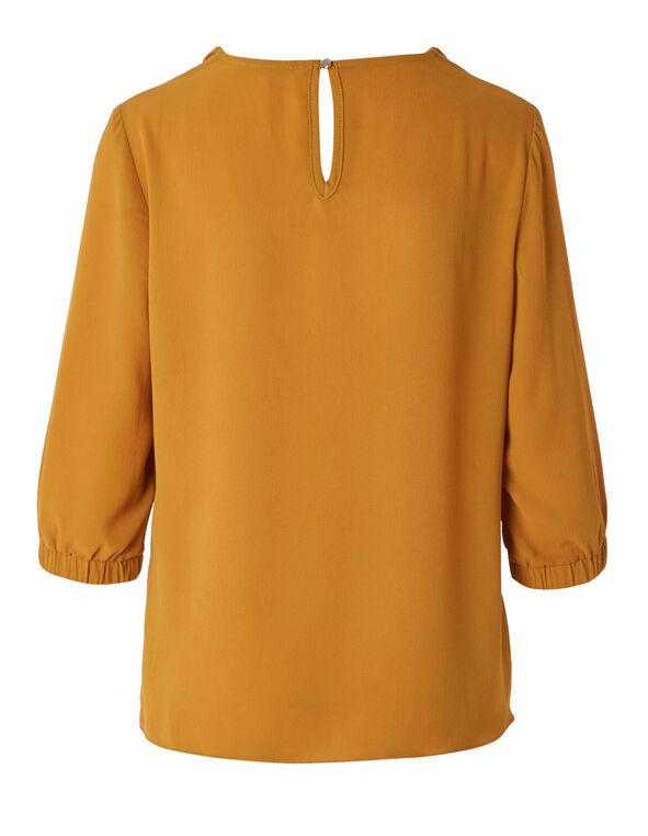 Mustard Ruched Collar Blouse, Mustard, hi-res