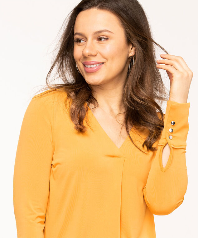 Gold V-Neck Single Pleat Top, Gold