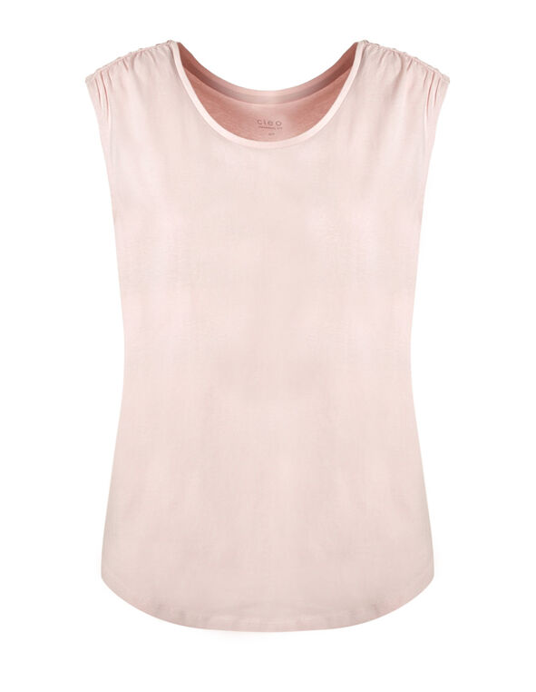 Misty Rose Ruched Cotton Tee, Misty Rose, hi-res