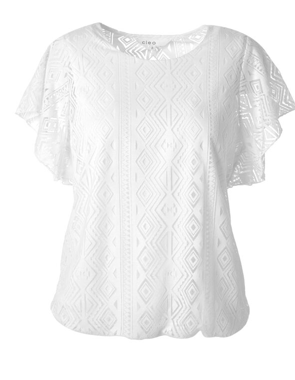White Burnout Printed Top, White, hi-res