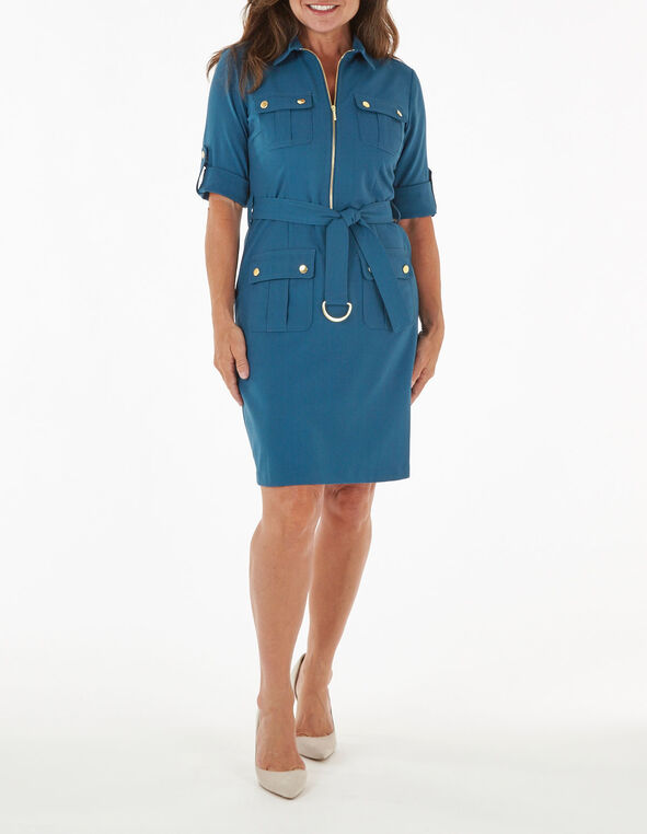 Turquoise Zipper Front Cargo Dress, Turquoise, hi-res