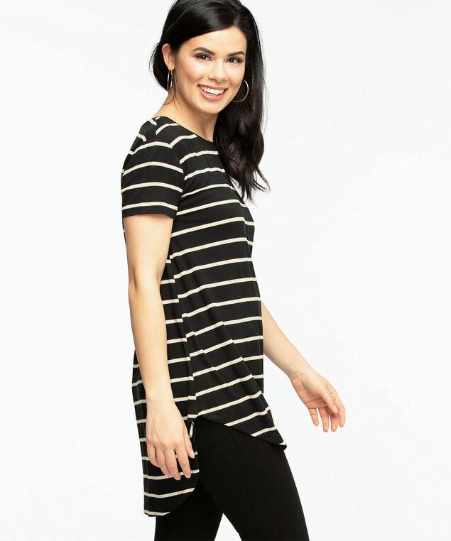 Striped Short Sleeve Tunic Top, Black/Oat Mix Stripe