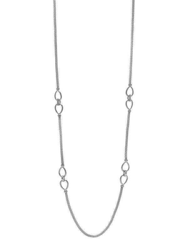 Long Sliver Mesh Necklace, Silver, hi-res