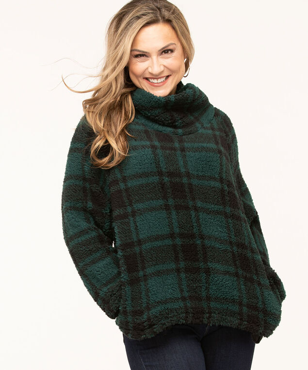 Plaid Sherpa Funnel Neck Pullover, , hi-res