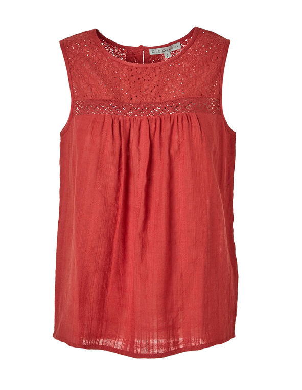 Grape Fruit Sleeveless Blouse, Coral, hi-res