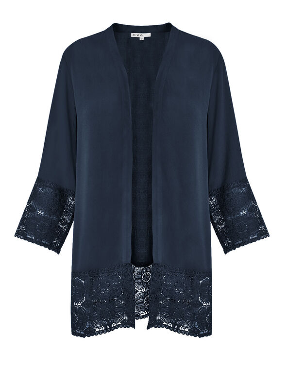 Summer Navy Lace Trim Cardigan, Summer Navy, hi-res